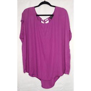 Torrid purple 2 open laced back blouse